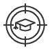 Graduation cap icon; our mission icon