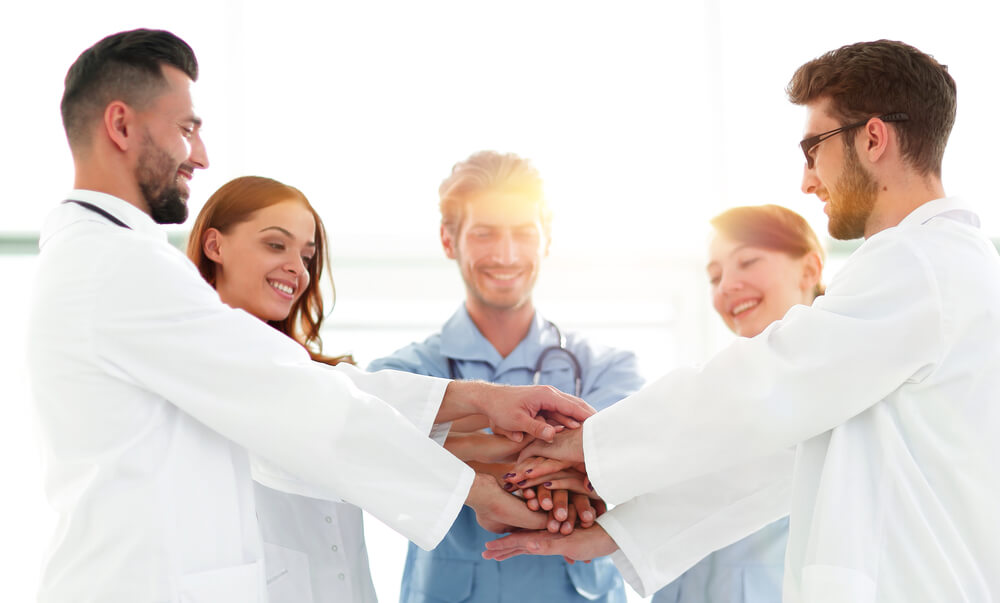 Nurses and doctors in a group